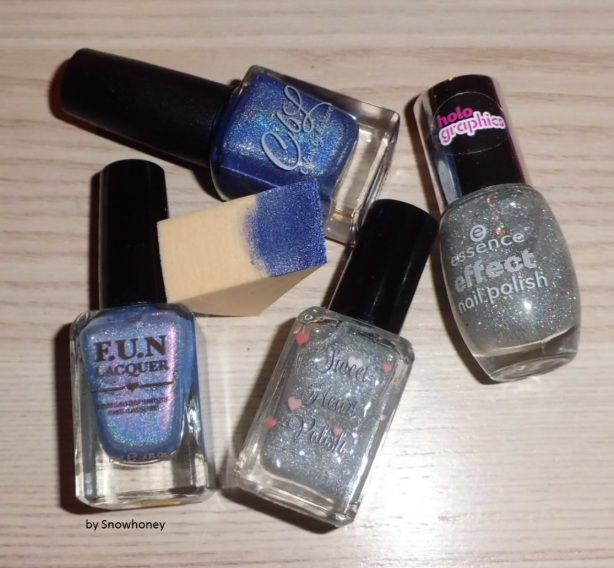 """FUN Lacquer """"Anna""""; Colors by Llarowe """"A Lot More Help Sucking Up""""; Sweet Heart Polish """"My Kind Of Party""""; essence """"I ♥ Magic"""""""